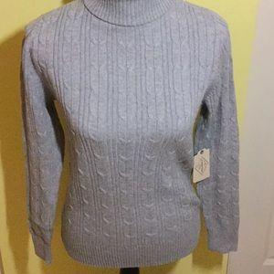 St. John's Bay Light Grey Cable Turtleneck Sweater